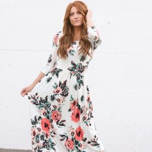 REB & J 220 Modest Maxi Dress Floral Ivory White